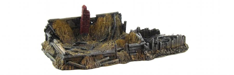 15mm Terrain - Wood Cabin Ruins 1